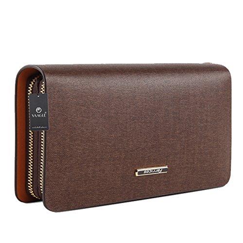 YAAGLE Neu Herren Taschen Handgepäck hart Geldbeutel handgefertigt groß Fassungsvermögen Cluth Bag Brieftasche-black coffee