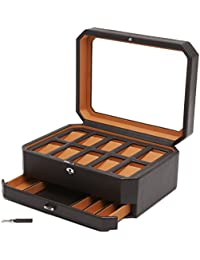 Windsor 10 Piece Locking Watch Box in Brown and Orange with Accessory Drawer - Designed by Wolf