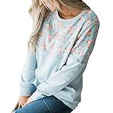 SEWORLD 2018 Damen Mode Sommer Herbst Beiläufige O-Ausschnit Langarm-Blumendruck Patchwork T-Shirt Tops Sweatshirt(Blau,EU-42/CN-M)
