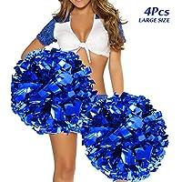 hatisan 4 De Gran Tamaño Animadoras Pompones, Cheerleader Pompom de Porristas Pompones de Animadora para Bailar y Deportes Eventos Deportivos Cheerleading Pom Poms Deportes Accesorios de Baile 14''