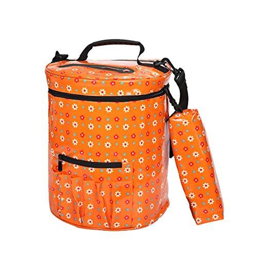 Gaeruite Stricken Tasche zum Garn / Wolle Lagerung - Leinwand Aufbewahrungstasche Garn Organizer für Ultimative Organisation von Häkeln und Stricken Garn, Häkelanleitungen und Haken, Häkelnadeln und Wolle (Orange)