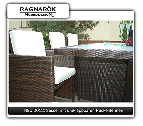 Gartenmöbel PolyRattan Essgruppe Tisch mit 6 Stühlen & 4 Hocker - 3