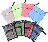 AdventureAustria Mikrofaser Handtuch Set (2 Stück) Enthält kleines Handtuch für Gesicht & EIN Großes Badetuch - Ideal für Fitness Yoga Sport Wandern Schwimmbad usw. Handliche Tasche inklusive. (Grau)