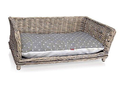 Hundesofa Weide Rattan Weidenkorb Hunde Korb Couch Bett Hundekorb mit Kissen (Gr.1)