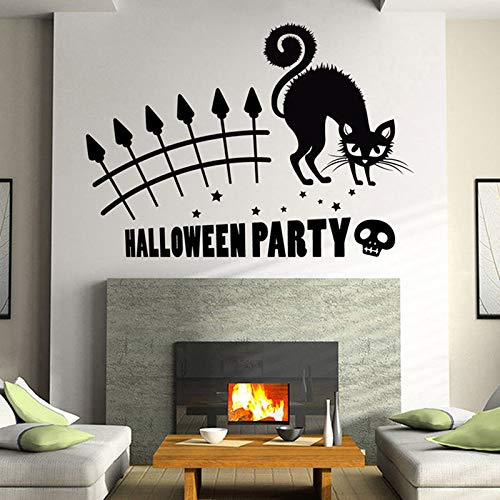 n Halloween Party Katze Wandbild Entfernbare Wandaufkleber Kunst Vinyl Aufkleber Home Room Decor Katze Aufkleber Wandbild 58 * 33 cm ()