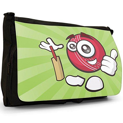 sporticons Happy Sport Balls–Borsa Tracolla Tela Nera Grande Scuola/Borsa Per Laptop Sporticon Cricket Ball & Bat