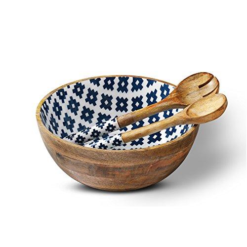 Folkulture Holz Salatschüssel oder Schüsseln, bunte Holzschale mit 2 Salatbesteck oder Zange oder Löffel, Mango Holz große Rührschüssel für Obst, Pasta, Müsli und Gemüse 3 12 Zoll x 5 Zoll Geometrisch -