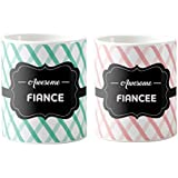 Engagement Gifts, Awesome Fiance Fiancee, Printed Couple Coffee Mugs For Engagement