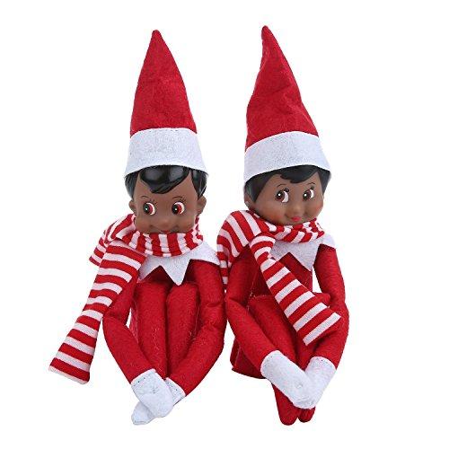 niceEshop(TM) Ein Paar Der Elfen auf Dem Regal Weihnachten 2 Dunkelhäutige Pics Plüsch Puppen auf Santa Claus 'Schreibtisch Junge & Mädchen