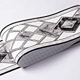 Bordo adesivo per carta da parati impermeabile, rimovibile, motivo 3D, adesivo per cucina e bagno, motivo: Banggo, 10,6 x 500 cm, grigio