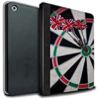 STUFF4 PU Leather Book/Cover Case for Apple iPad 9.7 (2017) tablets / Triple Bullseye Design / Darts Photo Collection