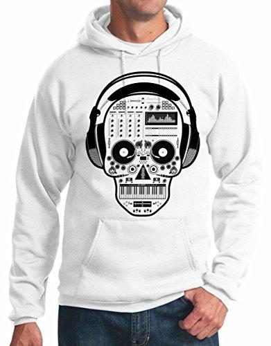felpa con cappuccio teschio skull dj musica music disco S M L XL XXL maglietta by tshirteria bianco