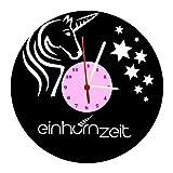 Reloj De Pared, unicornio Diseño Tocadiscos Reloj con esfera de cuarzo &, regalo único, fabricado en Alemania