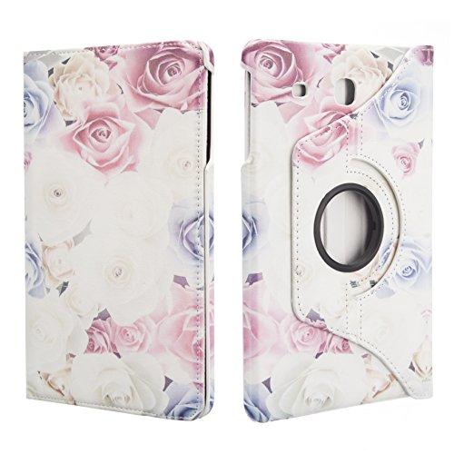 NWNK13 farfalla viola stampato girevole Folio Smart Case con supporto integrato per Samsung Galaxy Tab e 24,4cm inch T560/T561