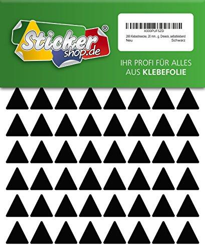 288 Aufkleber, Dreieck, Sticker, 20 mm, schwarz, PVC, Folie, Vinyl, glänzend, Klebemarkierung, selbstklebend