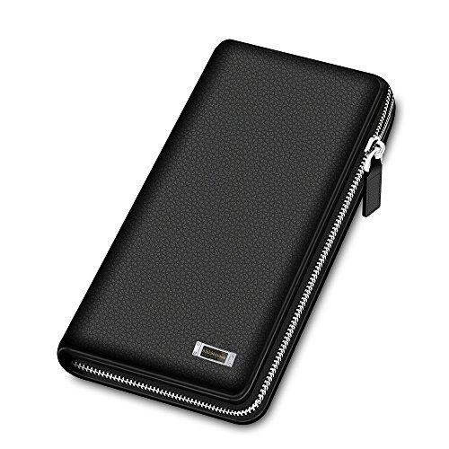 BISON DENIM Top Genuine Leather Mens Business Clutch Bag Organizer Wallet (Tumi Business Card Case)
