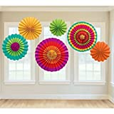 Fecedy 6pcs/set Round Wheel Fiesta Colorful Paper Fans For Home&Party,Event Decoration