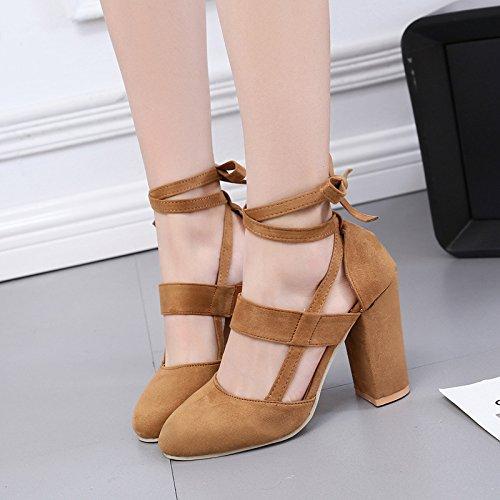 Donyyyy Große Größe Schuhe mit hohen Absätzen runden Kopf und übergroßen ring riemen, Ausgehöhlten single Damenschuhe, Braun, 37