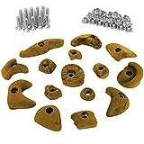 ALPIDEX 15 presas set de iniciación para niños, tornillos y - 30 tuercas de inserción inclusive, Color:amarillo-moteado
