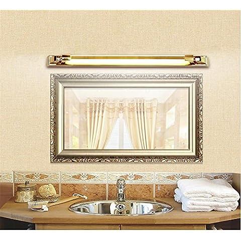 LLHZ-LED in acciaio inossidabile, lega di zinco, specchio lampada frontale, moderno, semplice impermeabile, anti-appannamento, wc, doccia, specchio luci, una rotazione di 360 gradi , 74cm