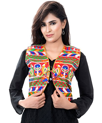 Banjara India Kutchi Short Choli Jacket [Duck] (Red)