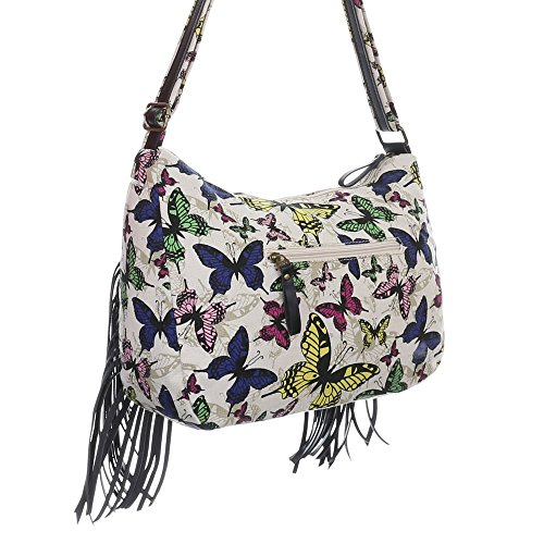 Damen Tasche, Mittelgroße Umhängetasche Mit Fransen, Textil, TA-18215 Weiß Multi