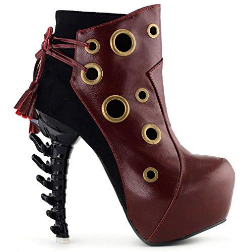 Show Story BOHO Ring Lace-up hoch oben knochen hohe Heel Platform kn?chel stiefel,LF80618 Rot