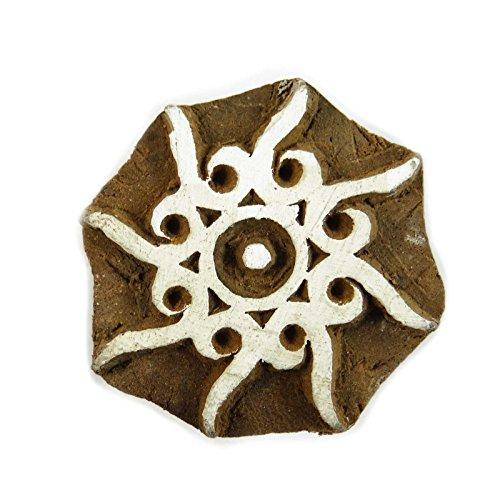 Decorativo blocco timbro floreale indiano francobolli tessili legno legno blocco di stampa, Legno, Design#6, 2