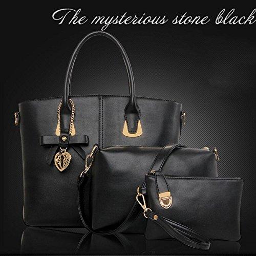 Frau Messenger Tasche Handtasche Schultertasche Dreiteiliger Bogen Black