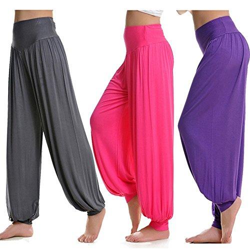 XGUO super doux spandex modal yoga pilates pantalon harem bouffant pour femme Yoga Fitness Rose
