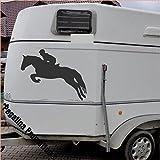 springendes Pferd mit Reiter Aufkleber Anhänger Pferd Anhänger ca. 60x60cm