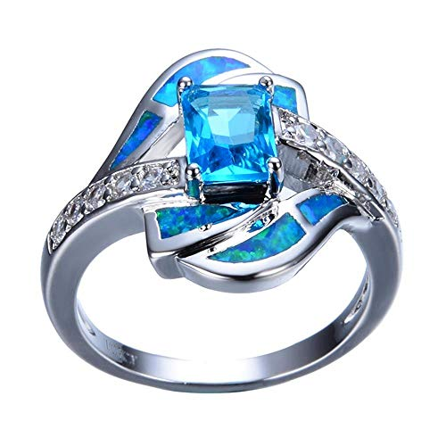 XCWXM Ringe fü Blau Schmuck Opal Ring Platin gefüllt 925 Sterling Silber Schmuck Ehering FemaleDaily Wear Ring Schmuck 6 (Gold Füllen Ehering)