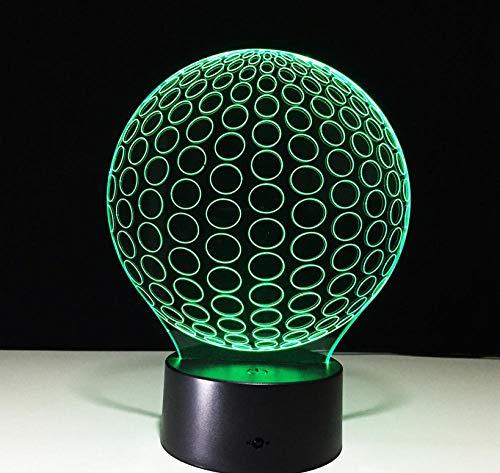 Nachtlichter Neuartige Golf 3D LED Nachtlichter Circle Ball aus Acryl Tischlampe Wohnzimmer Schlafzimmer Exquisite Geburtstag für Kinder -