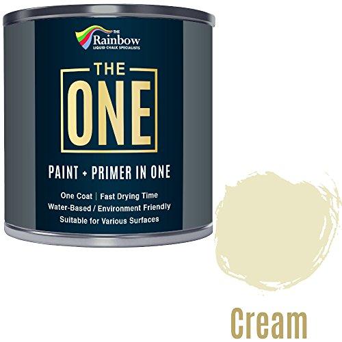 Una pintura, una capa, Multi superficie pintura para madera, metal, plástico, interior, exterior, color crema, Mate, 250ml