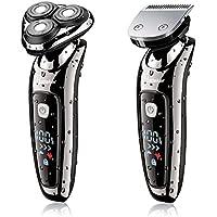 Hatteker 2 en 1 afeitadora eléctrica profesional maquinilla de afeitar para hombres máquina de afeitar rotary barba inalámbrico y húmedo con recargable USB resistente al agua