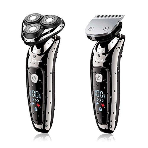 Hatteker Elektrorasierer 2 in 1 Professioneller Man's Elektrischer Rotationsrasierer Beard Trimmer Elektrischer Rasierer Dual-Use Rasierer Man's Haar Trimmer mit USB Ladekabel Wasserdicht