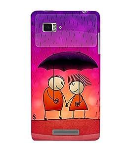 FUSON Love Couple In Rain 3D Hard Polycarbonate Designer Back Case Cover for Lenovo Vibe Z K910