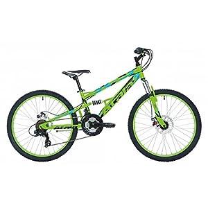 """514NeXeiWCL. SS300 Atala Bicicletta da Bambino Storm, 21 velocità, Colore Verde Fluo - Nero, 24"""", Altezza Max 140cm"""