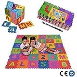 SPARGOX Tappeto Puzzle per Bambini con Lettere e Numeri - 36 Pezzi | con Sacca Riutilizzabile |Certificato CE e Tüv | Tappeto da Gioco Lavabile 180X180cm Spessore 1cm