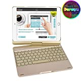 Durwyn Ipad 9.7 Backlight Keyboard Case, 7 Colors 360 Rotate for 2018-6Th Gen - 2017-5Th Pro Air 2 and 1 Back Hard Folio Swivel Cover with Wireless Bluetooth Auto Sleep, Wake - Gold