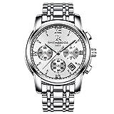 RuiZhiYuan Herren Quarz Uhren Edelstahl Multifunktions Datumsanzeige Wasserdicht Leuchtende Nacht Armbanduhr Uhr(Silber)