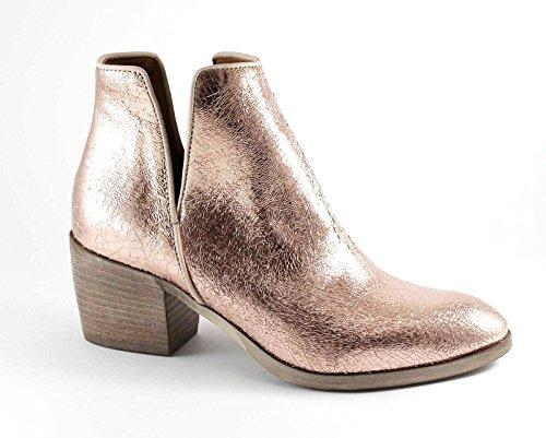 DIVINE FOLLIE COW07 Kupfer Stiefel Stiefel Frau Leder Ferse seitliche Öffnung Rosa