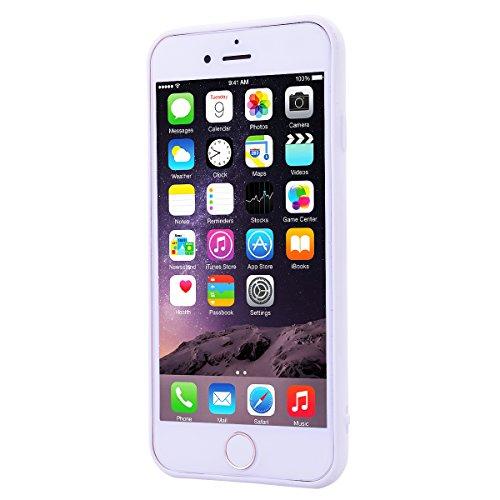 Custodia per Apple iPhone 6 / 6S ( 4.7 pollici ), HB-Int 3 in 1 Rosa Gomma TPU Gel Silicone Case Flessibile Morbido Shell Custodia Cuore Disegno Caso Ultra Sottile Leggera Copertura Anti Graffi Resist Bianco