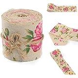AUAUDATE Vintage Floral Rosa Arpillera Cinta Tela Boda Arte Decorativo 3m