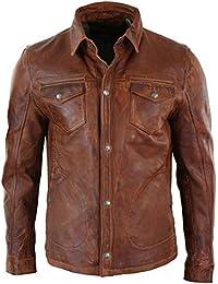 b9049e035696 Veste homme cuir véritable marron clair délavé coupe cintrée boutonnée  rétro décontracté