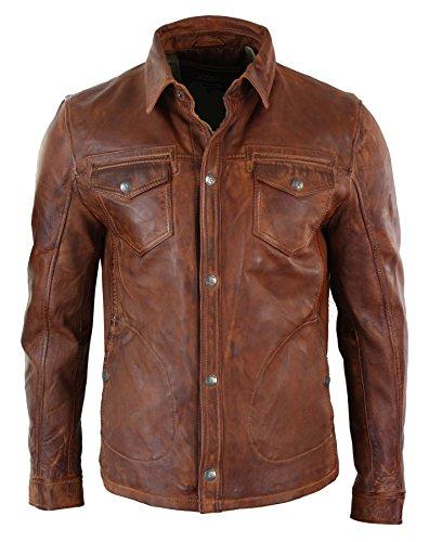Veste homme cuir véritable marron rouge délavé coupe cintrée boutonnée rétro décontracté