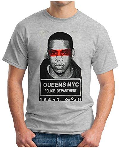 OM3 - JAY Z - POLICE - T-Shirt, S - 5XL Grau Meliert