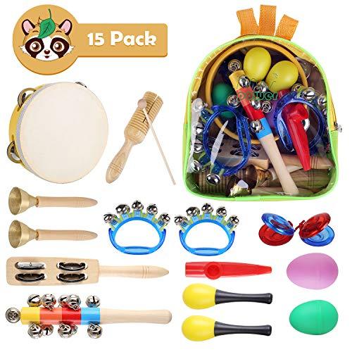 ente Kinder 15Stück Rhythm Toys Percussion Set Früherziehung Musik Kinderspielzeug Kleinkinder Holz Instrumentenset für Kinder mit Tragetasche(Rhythm Toys Set) ()