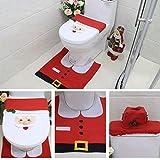 Weihnachten Toilettensitzbezug, Weihnachtsdeko WC-Sitz Cover Weihnachten Toilettensitzbezug mit Sitzbezug & Teppich & Gewebe Deckel Dekoration Toilettenvorleger-Set
