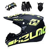 YXNB Casque de Motocross Kit Professionnel Casque de Moto Adultes Off-Road Cross Road...